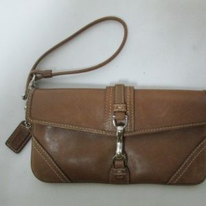 Coach brown Leather Clip Vintage wristlet clutch